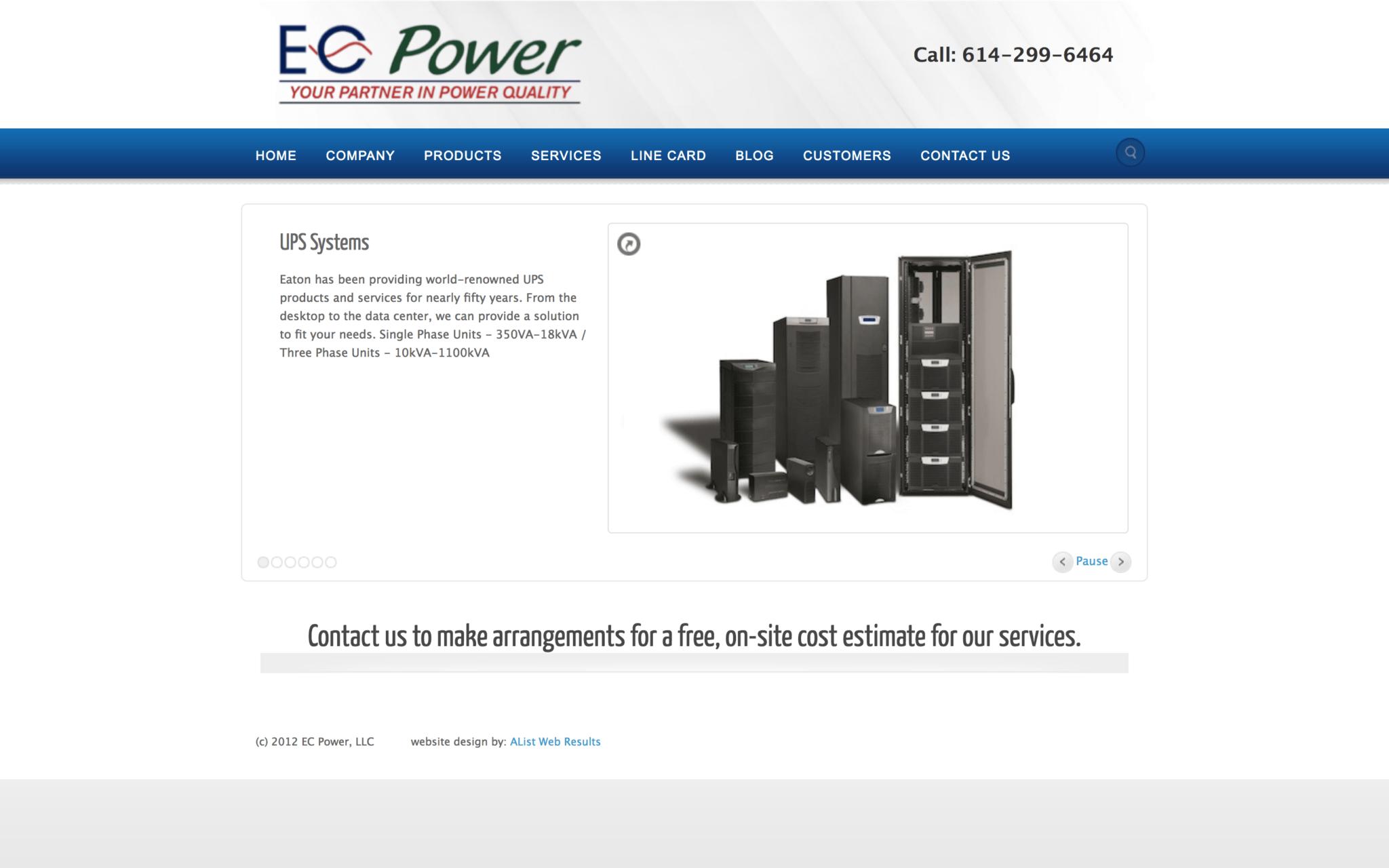 Screenshot of the original EC Power homepage