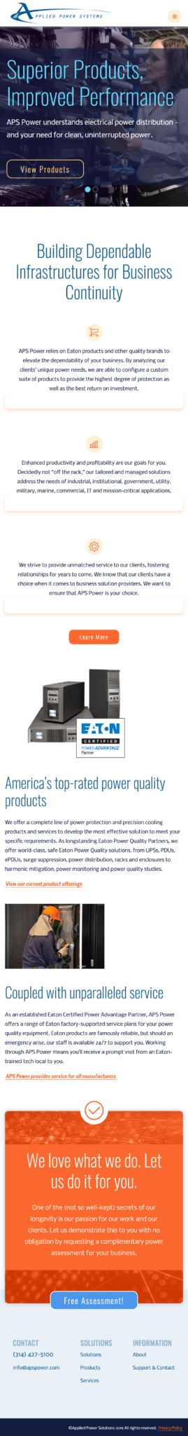 Mobile screenshot of the redesigned homepage for Applied Power Systems