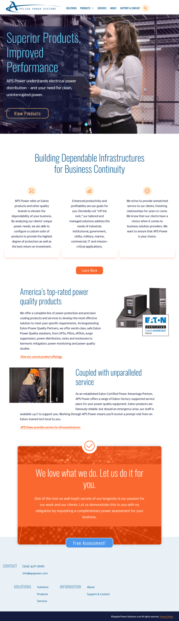 Tablet screenshot of the redesigned homepage for Applied Power Systems