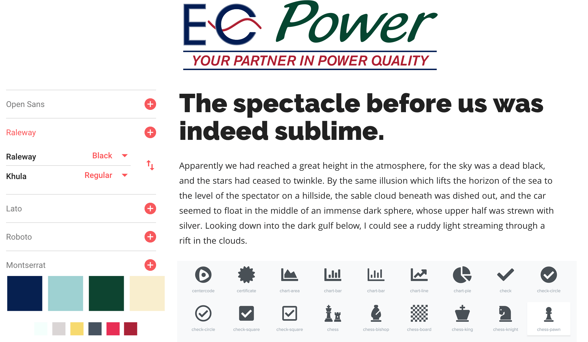 Style tile example for EC Power