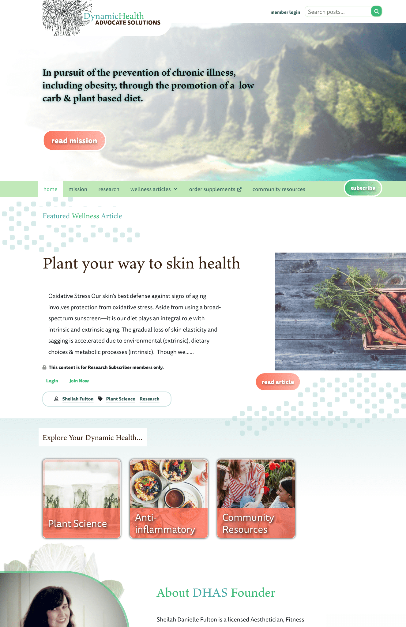 Creating a subscription WordPress blog for health and wellness.